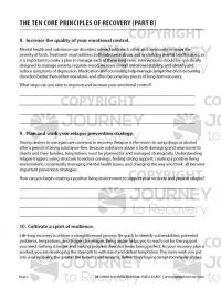 The Ten Core Principles of Recovery – Part B (COD Worksheet)