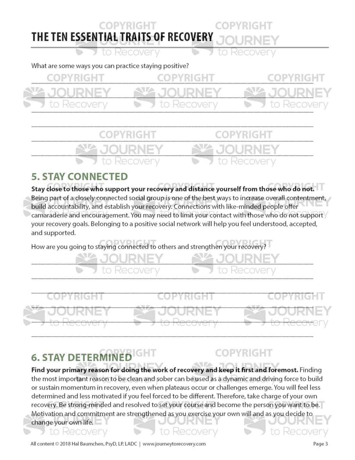the ten essential traits of recovery cod worksheet journey to recovery. Black Bedroom Furniture Sets. Home Design Ideas