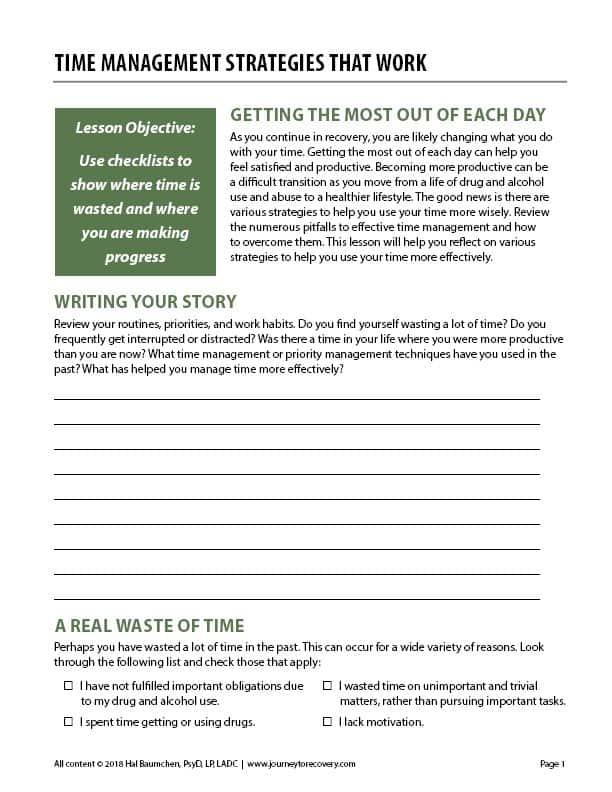 Time Management Strategies that Work (COD Worksheet)