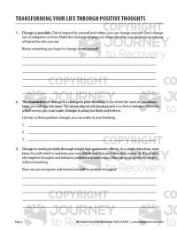 Transforming Your Life Through Positive Thoughts (COD Worksheet)