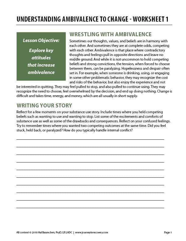 Understanding Ambivalence to Change – Worksheet 1 (COD)
