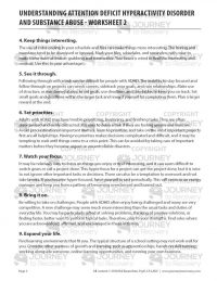Understanding Attention Deficit Hyperactivity Disorder and Substance Abuse – Worksheet 2 (COD)