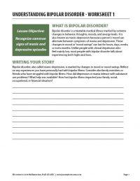 Understanding Bipolar Disorder – Worksheet 1 (COD)
