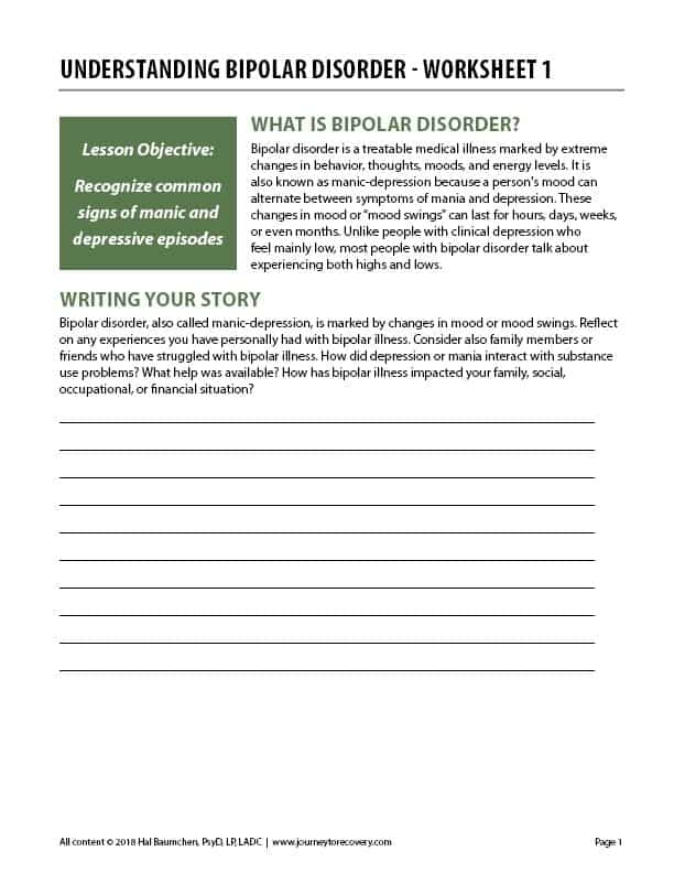 Understanding Bipolar Disorder - Worksheet 1 (COD)