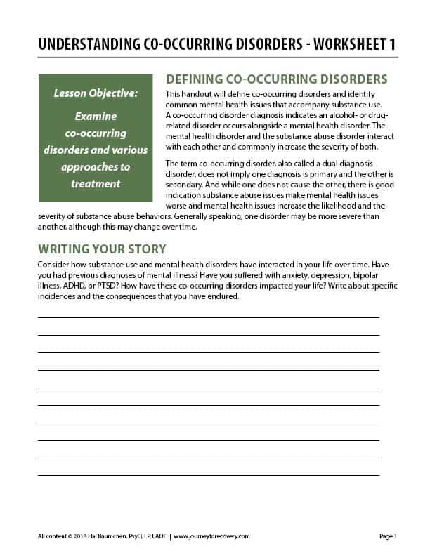 Understanding Co-Occurring Disorders – Worksheet 1 (COD)