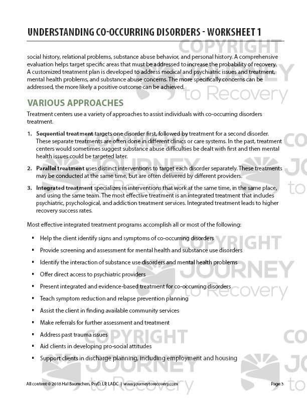Understanding Co Occurring Disorders Worksheet 1 Cod 13