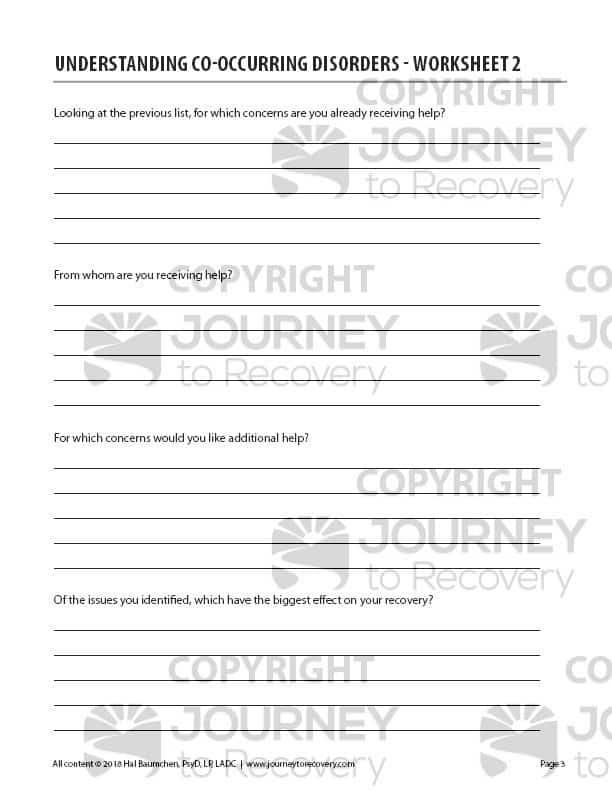 Understanding Co Occurring Disorders Worksheet 2 Cod