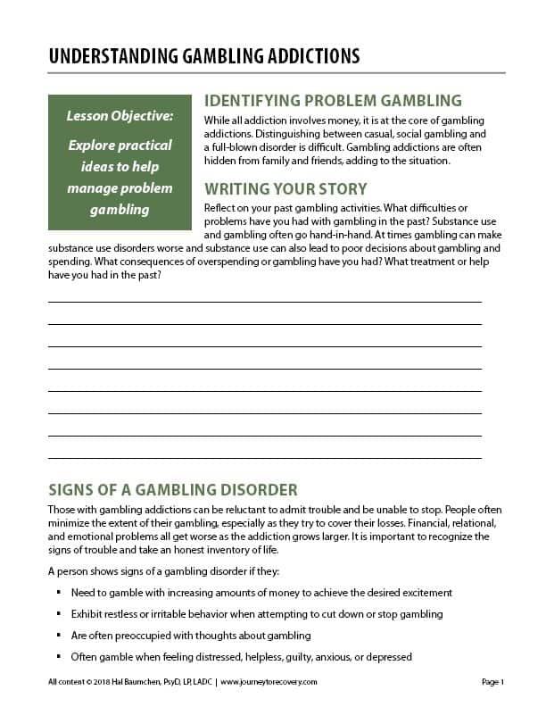 Understanding Gambling Addictions (COD Worksheet)