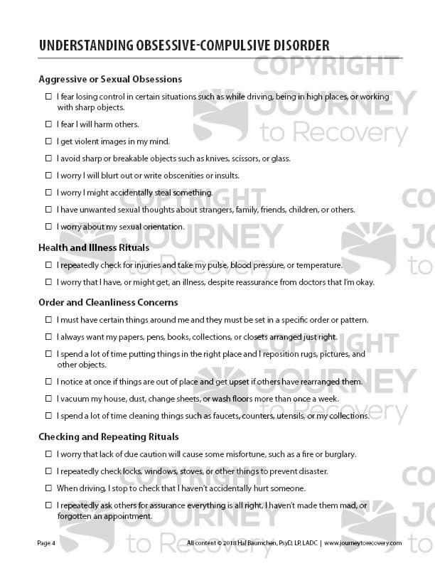 Understanding Obsessive Compulsive Disorder Cod Worksheet