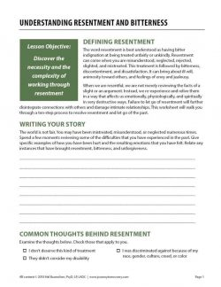 Understanding Resentment and Bitterness (COD Worksheet)