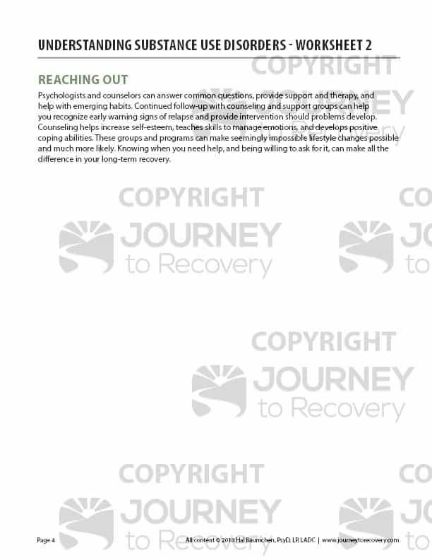 Understanding Substance Use Disorders Worksheet 2 Cod