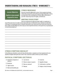 Understanding and Managing Stress – Worksheet 1 (COD)