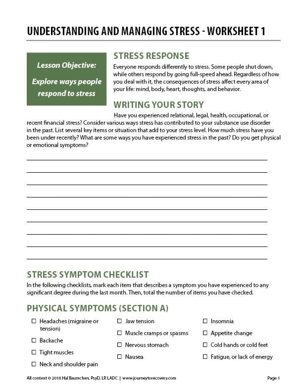Understanding and Managing Stress - Worksheet 1 (COD)
