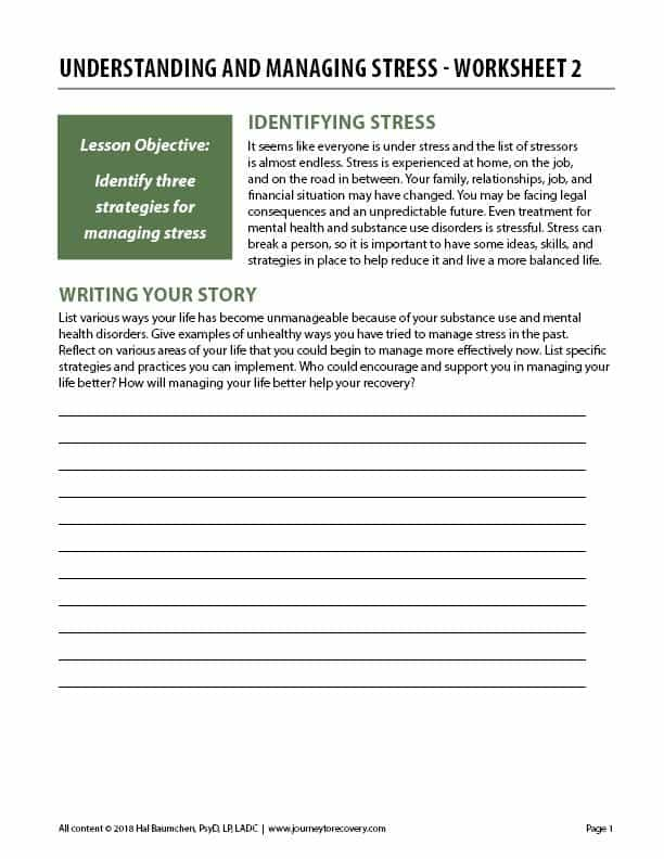 Understanding and Managing Stress - Worksheet 2 (COD)