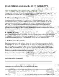Understanding and Managing Stress – Worksheet 2 (COD)