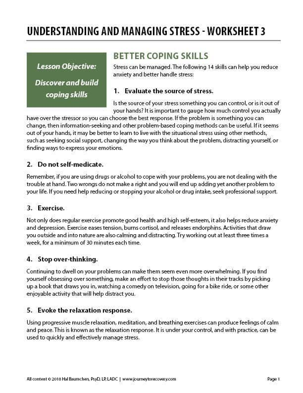 Understanding and Managing Stress - Worksheet 3 (COD)