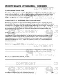 Understanding and Managing Stress – Worksheet 3 (COD)