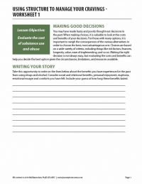 Using Structure to Manage Your Cravings – Worksheet 1 (COD)