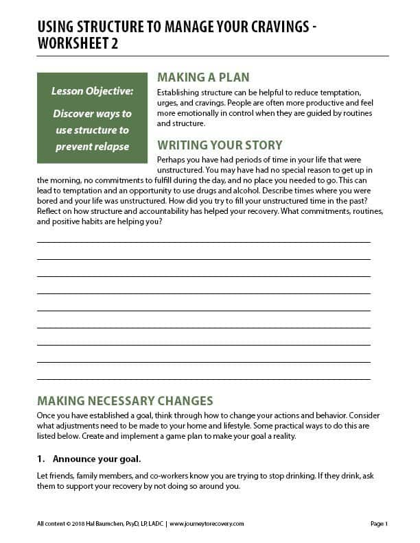 Using Structure to Manage Your Cravings – Worksheet 2 (COD)